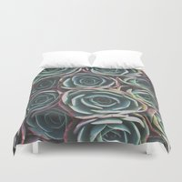 succulents Duvet Covers featuring SUCCULENTS by The Pixel Gypsy