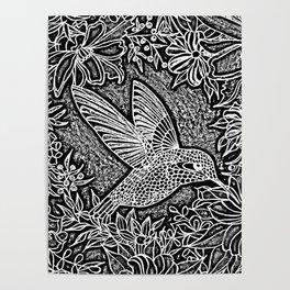 Hummingbird In Flowery Wreath Linocut Poster