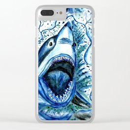 Hungry Shark Drawing Clear iPhone Case