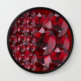 MODERN ART RED GARNET GEMS JANUARY BIRTHSTONE Wall Clock