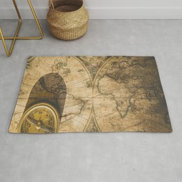 old nautical map with compass Rug