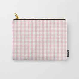White and Light Millennial Pink Pastel Color Gingham Check Carry-All Pouch