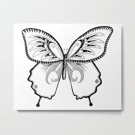 Butterfly in Ink Metal Print