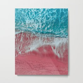 SPLASH - Electric Pink Sand and Turquoise Waves Metal Print