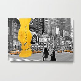 NYC Yellow Cabs - Times Square I - Brush Stroke Metal Print