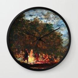 Restored: Night Festival & Bonfire, Figures on a Boat River Landscape by Felix Ziem Wall Clock