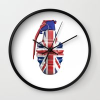 british flag Wall Clocks featuring British grenade by GrandeDuc