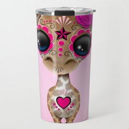 Pink Day of the Dead Sugar Skull Baby Giraffe Travel Mug