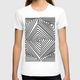 labirint black and wite design T-shirt