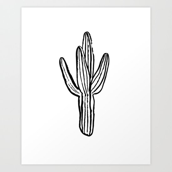 Cactus minimal modern black and white art decor painting trendy hipster southwest desert gifts  Art Print