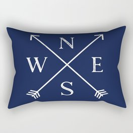 Navy Blue and White Compass Arrows Rectangular Pillow