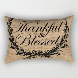 french country jubilee crown thanksgiving fall wreath beige burlap thankful and blessed Rectangular Pillow