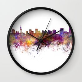 Pretoria skyline in watercolor background Wall Clock