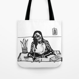 Curandera Healer Calavera Tote Bag