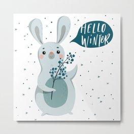 Hello Winter From Rabbit Metal Print