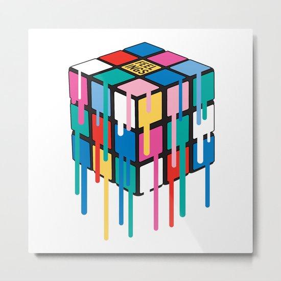Drippy Feelings Rainbow Rubiks Cube Metal Print