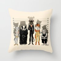 returns Throw Pillows featuring Unusual Suspects by castlepöp