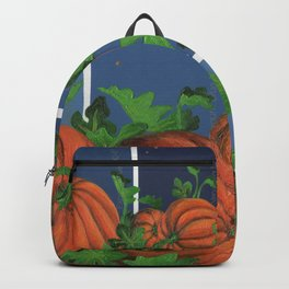 Pumpkin Patch at Night on Blues Backpack