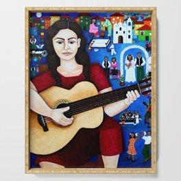Violeta Parra and her guitar Serving Tray