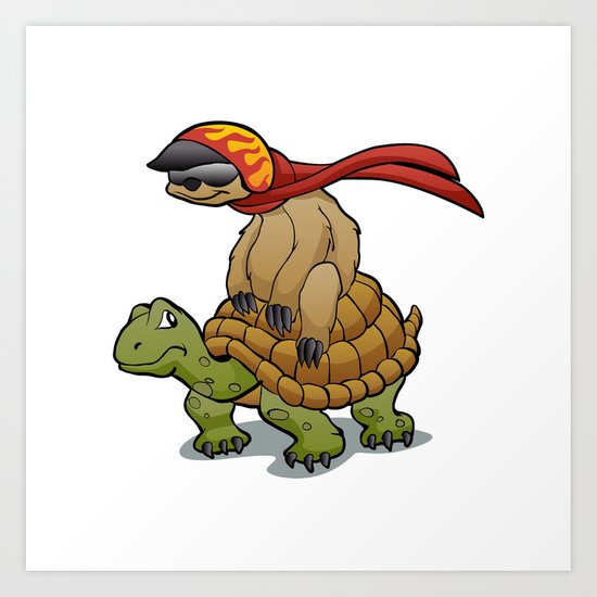 sloth riding a turtle by marios