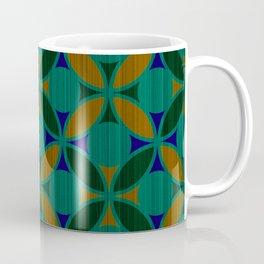 Geometric Floral Circles Textured Stripe Green Orange and Blue Coffee Mug