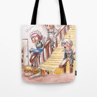 black butler Tote Bags featuring Chibi Black Butler - Servants by Furiarossa
