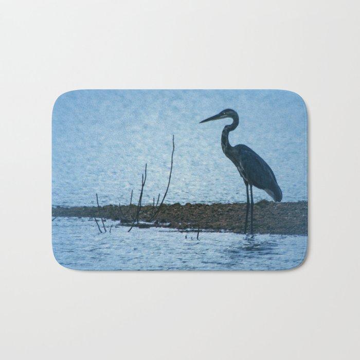 Great Blue Heron Fishing Bath Mat