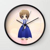 bioshock infinite Wall Clocks featuring Bioshock Infinite - Elizabeth Angel by Choco-Minto