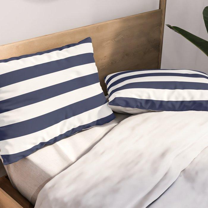 Nautical Cotton Sateen Pillow Sham Bedding by Spoonflower Thin Stripes Pillow Sham Swim Lane Stripe In White Navy by alib