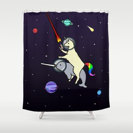 Llamacorn Riding Narwhal In Space Shower Curtain