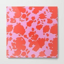 Colorful Childish Cow Pattern Metal Print