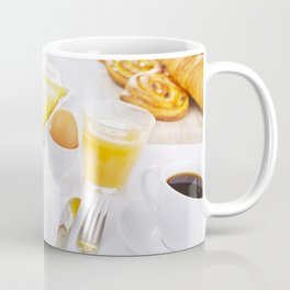 I - Table full with continental breakfast items, brightly lit Coffee Mug