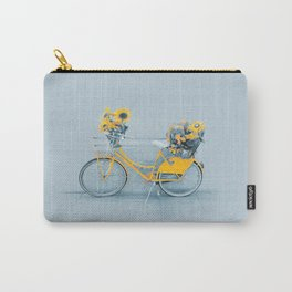Yellow vintage bike with sunflowers Carry-All Pouch