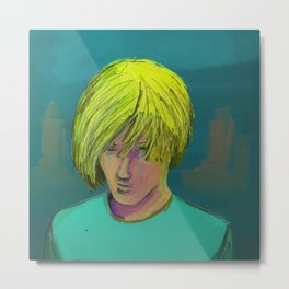 Blond Boy Crying Metal Print