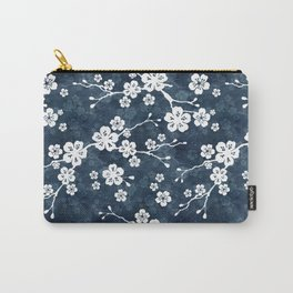Navy and white cherry blossom pattern Carry-All Pouch