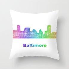 Rainbow Baltimore skyline Throw Pillow