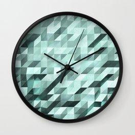 Slanted Squares - Turquoise - Modern Angular Pattern Wall Clock