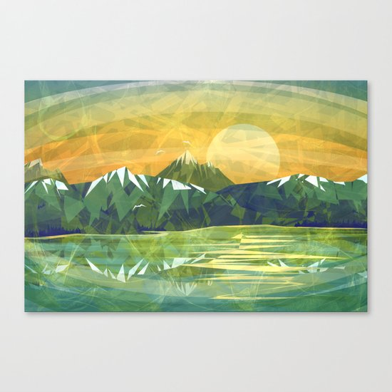Mountains and Sunset over the lake Canvas Print