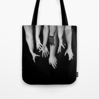 hands Tote Bags featuring Hands by Austin Collins