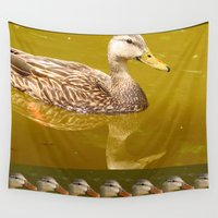 duck Wall Tapestries featuring Duck by Gloria Larravide