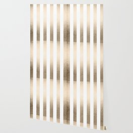 Simply Vertical Stripes in White Gold Sands Wallpaper