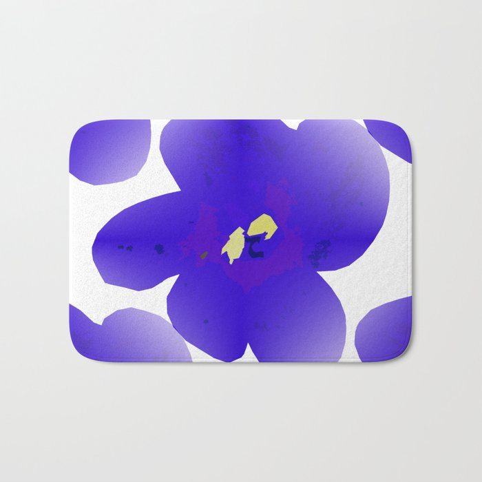 Large Retro Blue Flowers #1 White Background #decor #society6 #buyart Bath Mat