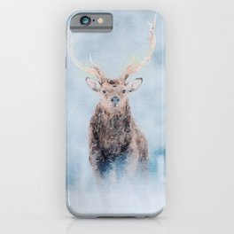 Deer in the snow watercolor painting  iPhone Case