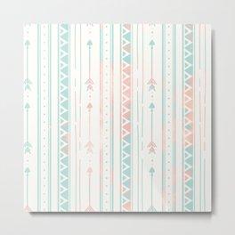 Geometrical blush blue coral pink bohemian arrows Metal Print