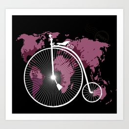 bicycle over textured world map Art Print