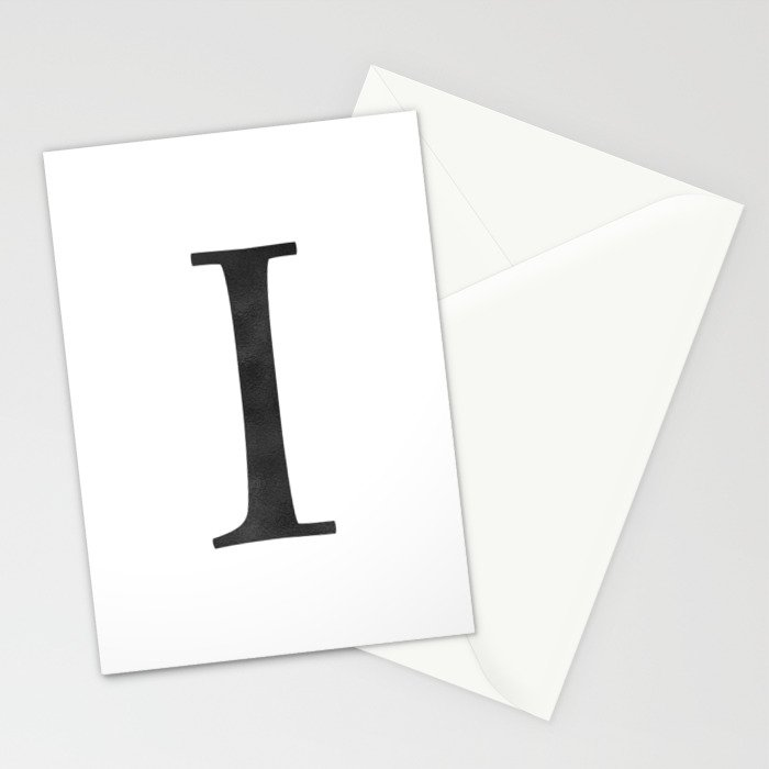 Letter I Initial Monogram Black and White Stationery Cards