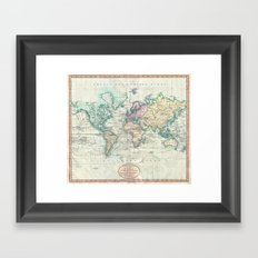 Vintage world map Framed Art Print