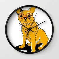 frenchie Wall Clocks featuring Frenchie by andiroses