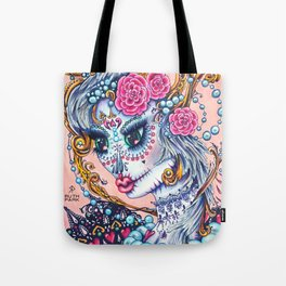 Pink Victorian Queen of Hearts wearing roses in Sugar Skull Make up for Day of the Dead Festival Tote Bag
