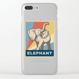 Vintage Retro African Elephant Awareness Gift Clear iPhone Case